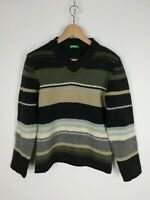 UNITED COLORS OF BENETTON MAGLIONE VINTAGE 100% LANA VERGINE Pullover Tg S Uomo