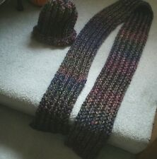 Hand KnitHat and Scarf Set/Red Heart Medley Yarn-Eclectic/Purple/Pink