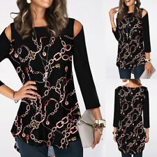 Womens Long Sleeve Print T-Shirts Ladies Cold Shoulder Casual Tunic Blouse Tops