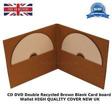 50 CD DVD de doble tarjeta Junta Billetera Reciclado Marrón Blanco Nueva cubierta de alta calidad