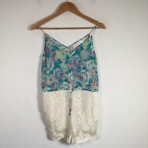 Zimmermann womens playsuit romper size 0 silk cotton floral sleeveless V neck