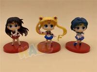 3pcs Sailor Moon Sailor Mars PVC 8cm figura de acción de juguete sin caja