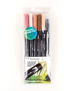 TOMBOW ABT Dual Brush Pen Set - Set of 6 Blendable Skin Tone Colours