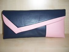 NAVY BLUE & PINK faux leather clutch bag, lined. Handmade in the UK. BN
