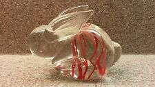 VINTAGE HAND BLOWN GLASS BUNNY RABBIT PAPERWEIGHT CLEAR WITH RED ACCENT