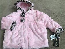New Rothschild Pink Faux Soft Fur Leopard Winter Hood Coat M 5/6 $89