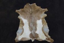 Real Goat Hide Rug Brown and White Natural Hair on Leather Area Rug Goat Skin