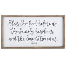"""Large Country Rustic Wood Wall Decor Sign """"Bless the food before us"""" Plaque NEW"""