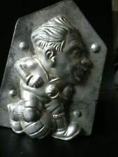 Vintage metal chocolate mold/mould ,caricature of football player.