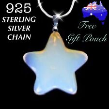 Opalite Opal Star Pendant 925 Sterling Silver Chain Necklace Women's Gift NEW