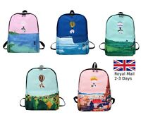Embroidery Painted Nylon Women Girls Backpack Rucksack School Satchel Travel Bag
