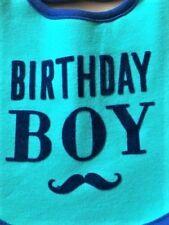 "CARTERS ""BIRTHDAY BOY"" BIB, GREEN/BLUE MUSTACHE, NWT"