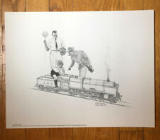 Norman Rockwell Signed Print LOCOMOTIVE Vintage Original Pencil Drawing