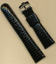 Genuine Steel Omega Buckle & Black 22mm Genuine Lizard Strap Band Leather Lined