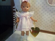 "New ListingOrig. Clothes Effanbee 8 1/2"" Patsyette In Pink/White Dress W/Hang Tag & Stand"