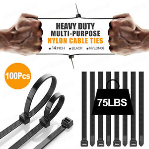 "100Pcs 14"" Cable Ties Heavy Duty 75LBS Ultra Nylon Wrap Wire Zip UV Resistant"