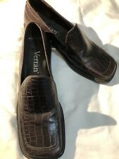 VERTAN Womens Brown Leather Italian Designer Shoes Loafers Size 7 1/2 GLOBAL