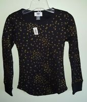 Old Navy Girls 6-7 8 10-12 14 Long Sleeve Thermal Top BLACK & GOLD Shirt  #62218