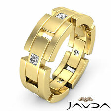 Mens Block Link Eternity Wedding Band 18k Yellow Gold 9mm Diamond Cut Ring 0.6Ct
