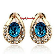 Gold Filled Ocean Blue Made with Swarovski Crystals Teardrop Stud Earring XE62