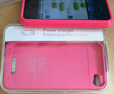 Pink Portable Extended Back up Battery Pack Case Cover 1900mAh for iPhone 4 4gs