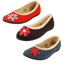 Ladies Padders Micro Suede Memory Foam Wide Fit Slippers - Happy