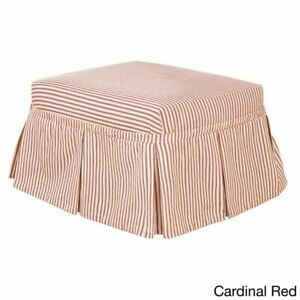 NEW Sure Fit Ticking Stripe 2 Piece ottoman  cardinal red washable