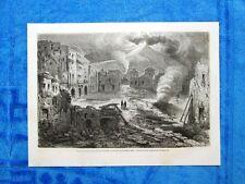 Gravure Année 1862 - Torre del Greco pendant l'eruption du Vesuve,8 decembre1861