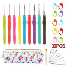 30Pcs/set Ergonomic Grip Crochet Hooks Yarn Knitting Needles Set Kit Tool+Bag US