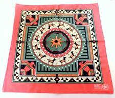 NOS Vintage NATIVE AMERICAN SOUTHWESTERN RED BORDER BANDANA,  Made In USA