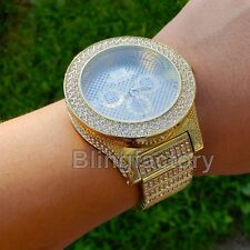Men's Hip Hop Kendrick Full Iced out  Gold PT Bling Lab Diamond Rapper Watch