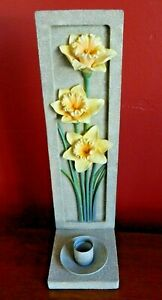 Vintage Wall Mounted Sconce Candle Holder DAFFODIL DESIGN Faux-Stoneware EUC