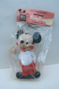 Dell Mickey Mouse Ancien Pouet 20 Cm Walt Disney Neuf en sachet Usa 1960