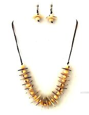 Tagua Nut Bib Necklace and Earrings Set, Tornillo Beige Necklace Set - TAG120