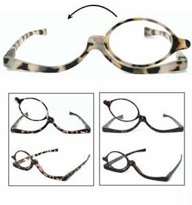 1 or 2 Pairs Makeup Reader Cosmetic Glasses Making Up Reading Rotatable Lens