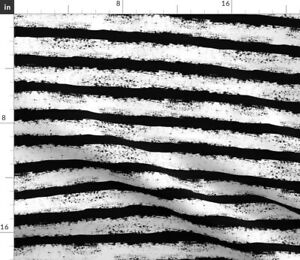 Black White Distressed Stripe Halloween Scary Spoonflower Fabric by the Yard