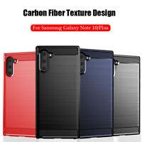 For Samsung Galaxy Note 10 Plus 9 8 FE Soft Slim Carbon Fiber Texture Back Case