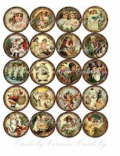 """Christmas 2"""" 20 round circle vintage picture wreath glossy paper"""