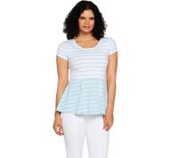 Isaac Mizrahi Live! Striped Short Sleeve Knit Peplum Top Paradise Blue Size M