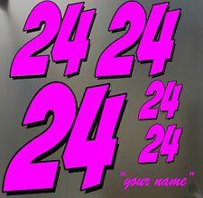 race car number sticker decal set circle dirt track hornet autocross scca pink