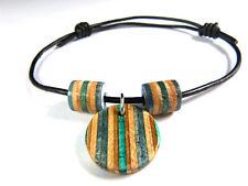 RECYCLED SKATEBOARD Wooden Circle Bracelet Round Handmade Black Cord Charm