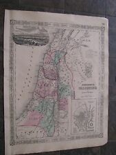 1863 ORIGINAL Large Map of Palestine, Holy Land, Israel, Syria, Jerusalem