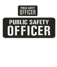 PUBLIC SAFETY OFFICER embroidery patches 4x11and 2x4 hook on back blk/white
