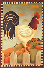 """Rooster Country Fall Garden Flag Autumn Primitive Fence Decorative 12"""" X 18"""""""