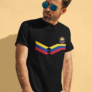 Mens COLOMBIA Retro Strip Copa America Football T-Shirt 2021 Columbian Tee