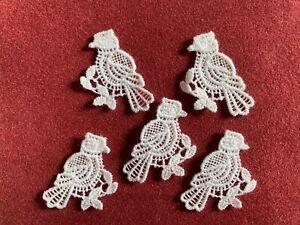 Five birds sew-on lace motifs, appliqué, patch