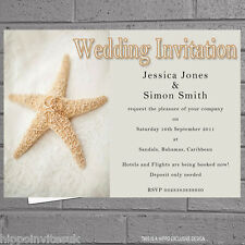 Starfish rings in the Sand Beach Wedding Evening Day Reception Invites x12 H0905