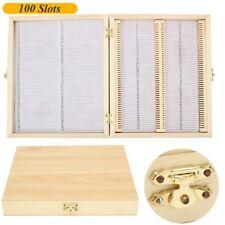 Prepared Microscope Slides Basic Biological Science Education Wood Case 100Pcs