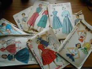 Lot of 9 Vintage Adult Sewing Patterns 1940s 1950s