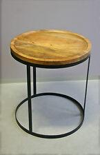 Beistelltisch rund Durchmesser 55 cm Mango Holz und Metall Industriedesign